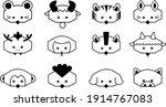 cartoon image 12 zodiac animals ... | Shutterstock .eps vector #1914767083