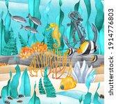 calm watercolor sandy ocean...   Shutterstock . vector #1914776803