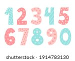 cute vector set with numbers.... | Shutterstock .eps vector #1914783130