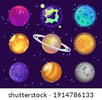 colorful cartoon planets flat... | Shutterstock .eps vector #1914786133