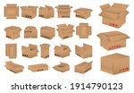 set of cardboard box mockup or... | Shutterstock .eps vector #1914790123