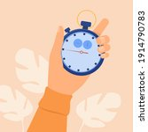 human hand holding stopwatch.... | Shutterstock .eps vector #1914790783
