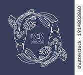 pisces. linear zodiac sign.... | Shutterstock .eps vector #1914803860