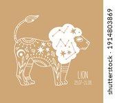 lion. linear zodiac sign.... | Shutterstock .eps vector #1914803869