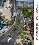 Small photo of Ala Moana Boulevard in Waikiki facing in a southerly direction. Honolulu skyline visible.