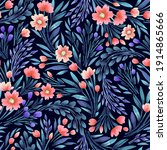 floral watercolor seamless... | Shutterstock . vector #1914865666