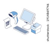 cash register  scanner  print... | Shutterstock .eps vector #1914869746