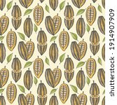 seamless pattern of cocoa beans ... | Shutterstock .eps vector #1914907909