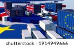 TRADE BETWEEN england and eu. Trucks and containers face each other