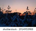 Sunset Winter Time In Vilnius