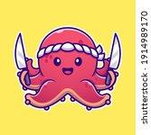 octopus chef holding knife... | Shutterstock .eps vector #1914989170