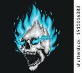 Blue Fire Skull Illustration...