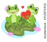 Frogs In Love. Cute Frogs Sit...