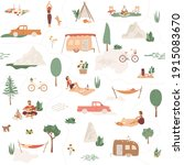 big collection of camping... | Shutterstock .eps vector #1915083670