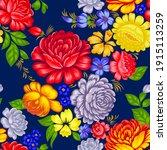 floral seamless pattern in folk ... | Shutterstock .eps vector #1915113259