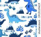 seamless  dino pattern  print...   Shutterstock .eps vector #1915119619