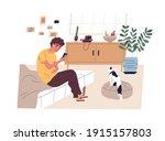 teen boy surfing internet ... | Shutterstock .eps vector #1915157803