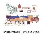 cozy bedroom interior with... | Shutterstock .eps vector #1915157956