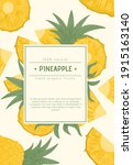 ripe pineapple with leaves card ... | Shutterstock .eps vector #1915163140