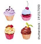 set of watercolor cupcakes.... | Shutterstock . vector #191517050