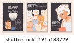 A Set Of Stylish Cards With...