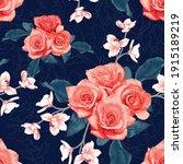 seamless pattern botanical pink ... | Shutterstock .eps vector #1915189219