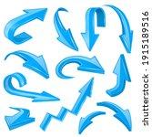 blue 3d shiny arrows. set of... | Shutterstock . vector #1915189516