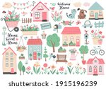 small houses  garden flowers... | Shutterstock .eps vector #1915196239
