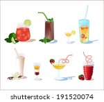 cocktails from fruits with mint ... | Shutterstock .eps vector #191520074