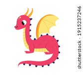 cute red little dragon with... | Shutterstock .eps vector #1915237246