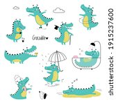 cute crocodiles in different... | Shutterstock .eps vector #1915237600