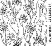 daffodils flowers. seamless... | Shutterstock .eps vector #1915268389