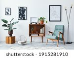 Small photo of Modern retro composition of living room interior with design wooden cabinet, stylish armchair, mock up poster map, plants, vinyl recorder, books and personal accessories in home decor. Template.