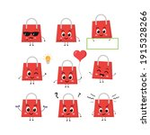 cute very happy shopping bag... | Shutterstock .eps vector #1915328266