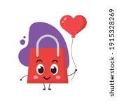 cute shopping bag with red... | Shutterstock .eps vector #1915328269