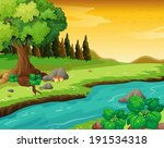 cartoon,clouds,daytime,drawing,ecosystem,environment,forest,graphic,grass,green,ground,illustration,image,jungle,lake