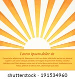 shiny paper sun on yellow... | Shutterstock .eps vector #191534960
