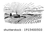village with fields and sun | Shutterstock .eps vector #1915400503