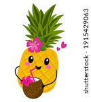 cute pineapple fruit with... | Shutterstock .eps vector #1915429063