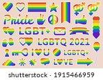 lgbtq pride elements. pride... | Shutterstock .eps vector #1915466959
