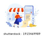 pay in online shop using... | Shutterstock .eps vector #1915469989