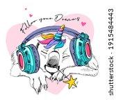 funny sleeping koala in a... | Shutterstock .eps vector #1915484443