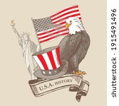 collage with the eagle  statue...   Shutterstock .eps vector #1915491496