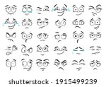 cartoon faces. hand drawn... | Shutterstock .eps vector #1915499239