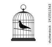 Bird In Cage  Vector...