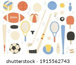 sports equipment cartoon... | Shutterstock .eps vector #1915562743