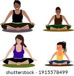 young people yoga practizing.... | Shutterstock .eps vector #1915578499