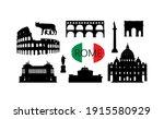 rome travel landmark set.... | Shutterstock .eps vector #1915580929