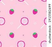 lollipops and strawberries on... | Shutterstock .eps vector #1915582699