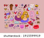 collection of feminist stickers.... | Shutterstock .eps vector #1915599919